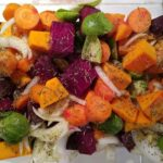 Colorful pacific northwest roasted vegetables