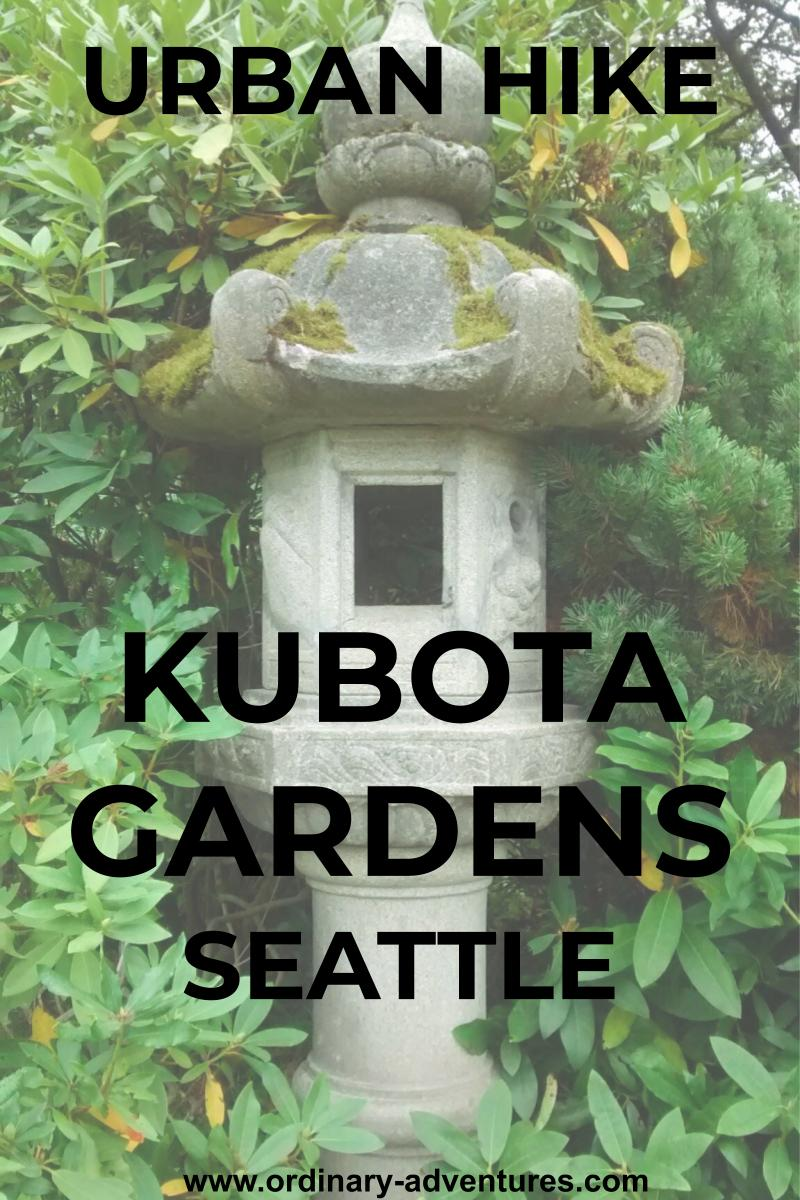 A stone sculpture that looks like a small house surrounded by green foliage. Text reads urban hike Kubota gardens seattle