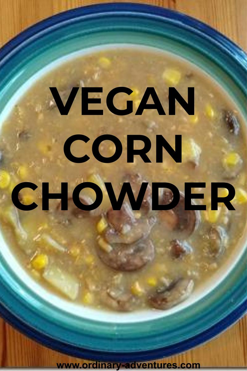 A bowl of vegan corn chowder in a blue, green and white bowl