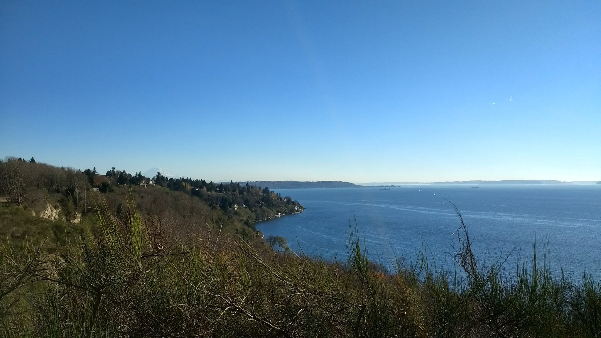 Blue water in the distance with boats on it. Distant forested hills are seen and in the foreground some low bushes