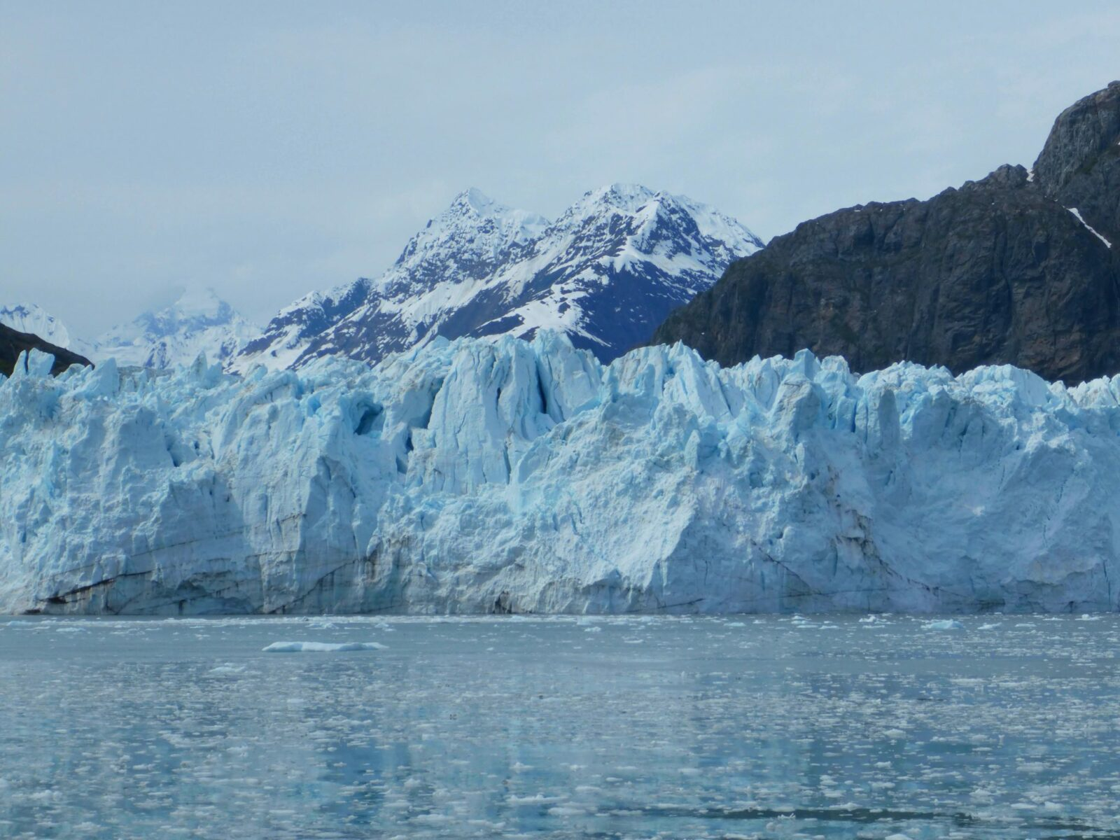 A blue tidewater glacier at the edge of the water. There is lots of ice flating in the water. In the background there are snow covered mountains on a cloudy day