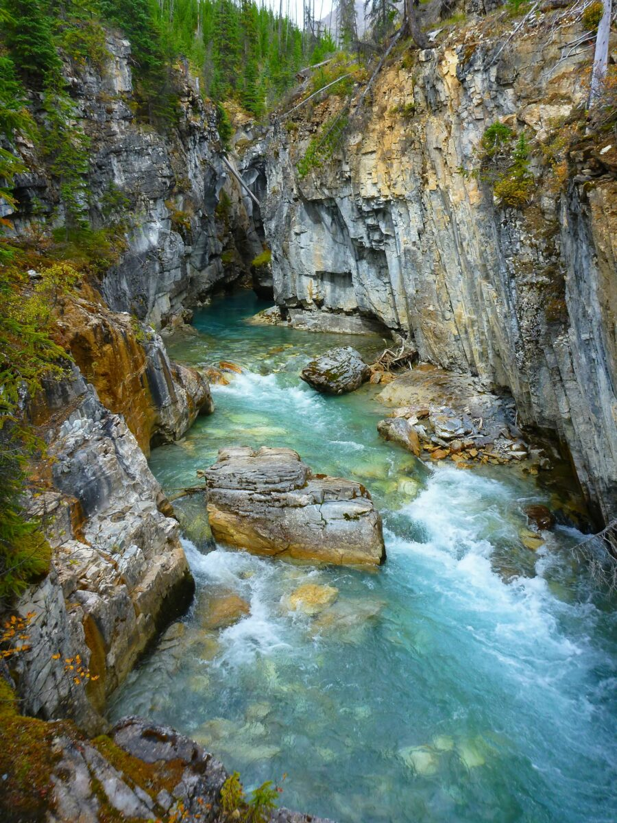 Stunning clear water rushes through Marble Canyon in Kootenay National Park. There are steep rock walls and green trees around the top