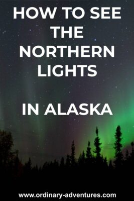 Purple and green aurora light a dark sky full of stars in Fairbanks. Text reads How to see the northern lights in Alaska.