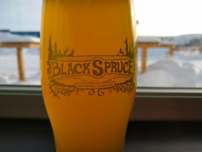 A beer in a glass at Black Spruce brewing in Fairbanks Alaska