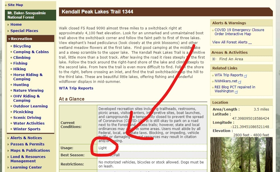 A screen shot of the Mt Baker Snoqualmie National Forest website on the entry for the Kendall Peak Lakes trail. A red circle shows the usage as light. This is a good way to find less crowded hikes in national forests