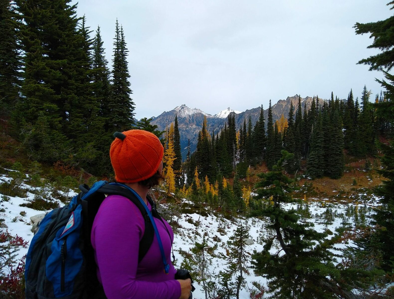 A person in a purple shirt and an orange hat wearing a backpack looks away towards distant forest and mountains. It is an overcast day and there is a bit of snow on the ground. Some of the trees have turned orange in fall color.