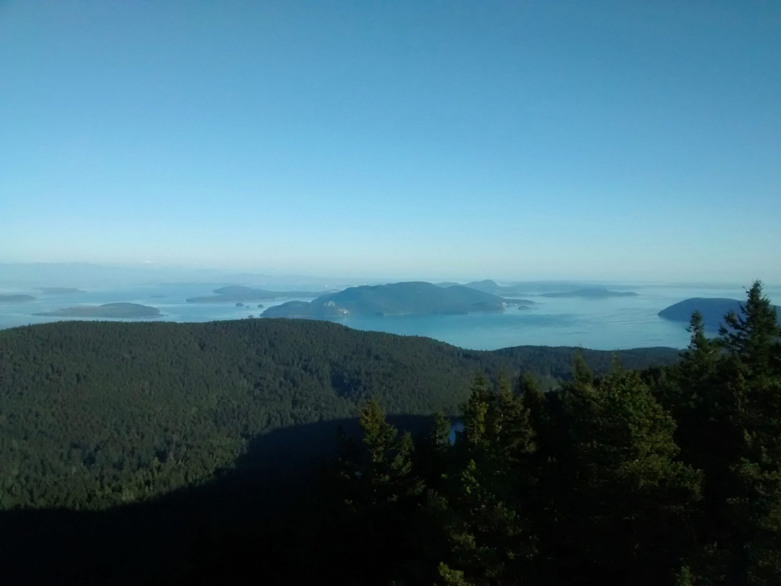 View from a high place above the forest. There are near and distant forested islands in a blue sea on a sunny, clear day